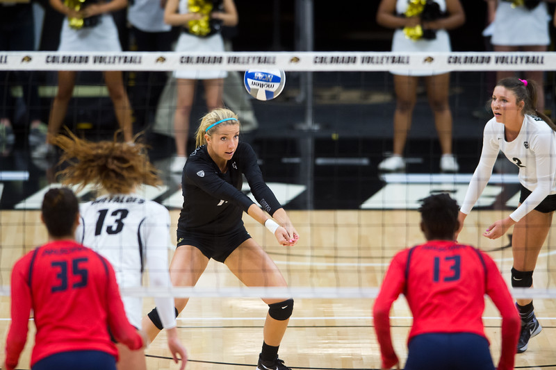 "CU's Cierra Simpson makes a save during the game against Arizona in the Coors Event Center at CU Boulder on Sunday. <br /> More photos:  <a href=""http://www.buffzone.com"">http://www.buffzone.com</a><br /> (Autumn Parry/Staff Photographer)<br /> September 25, 2016"