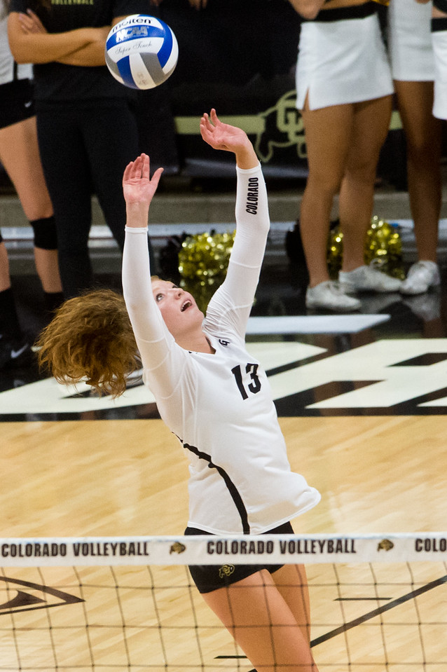 "CU's Gabby Simpson makes a save during the game against Arizona in the Coors Event Center at CU Boulder on Sunday. <br /> More photos:  <a href=""http://www.buffzone.com"">http://www.buffzone.com</a><br /> (Autumn Parry/Staff Photographer)<br /> September 25, 2016"