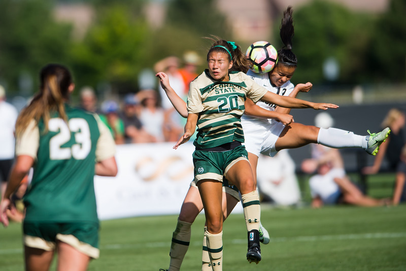 "CSU's Janelle Stone and CU's Stephanie Zuniga collide during a head bump at Prentup Field at CU Boulder on Sunday. CU Boulder defeated CSU 2-1. <br /> More photos:  <a href=""http://www.buffzone.com"">http://www.buffzone.com</a><br /> (Autumn Parry/Staff Photographer)<br /> August 21, 2016"