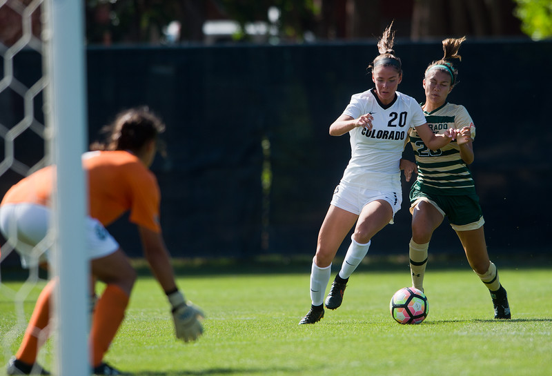 "CU's Camilla Shymka attempts to score against CSU during the soccer game at Prentup Field at CU Boulder on Sunday. CU Boulder defeated CSU 2-1.<br /> More photos:  <a href=""http://www.buffzone.com"">http://www.buffzone.com</a><br /> (Autumn Parry/Staff Photographer)<br /> August 21, 2016"