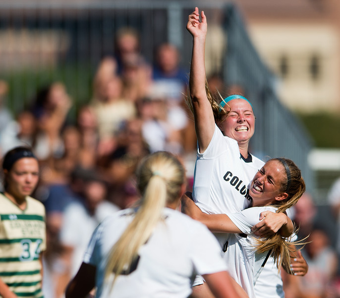 """CU's Danica Evans celebrates after scoring the second goal for the Buffs during the soccer game at Prentup Field at CU Boulder on Sunday. CU Boulder defeated CSU 2-1.<br /> More photos:  <a href=""""http://www.buffzone.com"""">http://www.buffzone.com</a><br /> (Autumn Parry/Staff Photographer)<br /> August 21, 2016"""