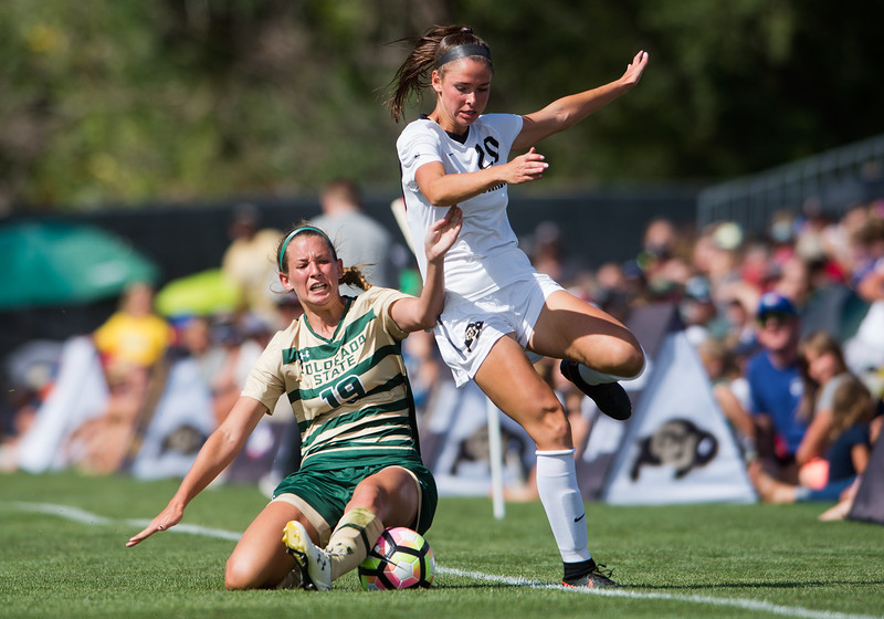 "CSU's Kasey Dietrich and CU's Camilla Shymka collide during the soccer game at Prentup Field at CU Boulder on Sunday. CU Boulder defeated CSU 2-1.<br /> More photos:  <a href=""http://www.buffzone.com"">http://www.buffzone.com</a><br /> (Autumn Parry/Staff Photographer)<br /> August 21, 2016"