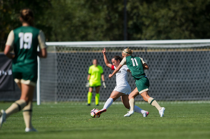 "CU's Morgan Stanton tries to maintain possession of the ball as CSU's Kaija Ornes follows close behind during the soccer game at Prentup Field at CU Boulder on Sunday. CU Boulder defeated CSU 2-1.<br /> More photos:  <a href=""http://www.buffzone.com"">http://www.buffzone.com</a><br /> (Autumn Parry/Staff Photographer)<br /> August 21, 2016"