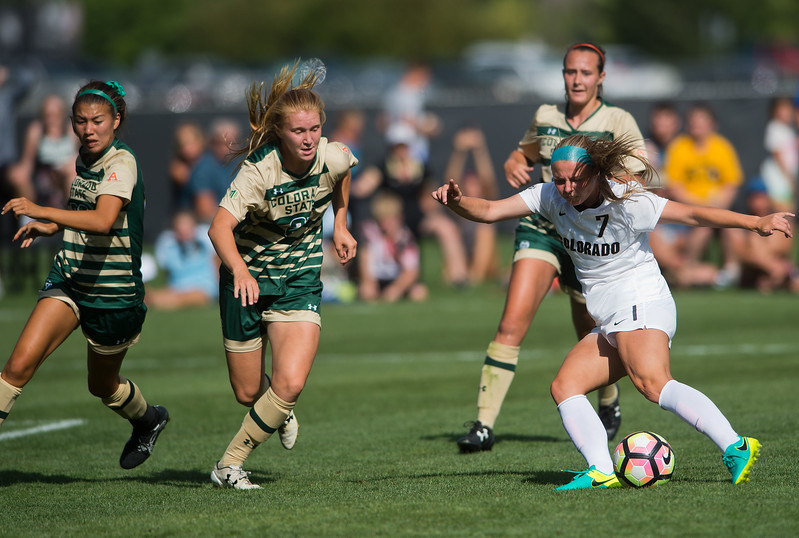 "CU's Danica Evans shoots and scores the second goal for the Buffs during the soccer game at Prentup Field at CU Boulder on Sunday. CU Boulder defeated CSU 2-1.<br /> More photos:  <a href=""http://www.buffzone.com"">http://www.buffzone.com</a><br /> (Autumn Parry/Staff Photographer)<br /> August 21, 2016"