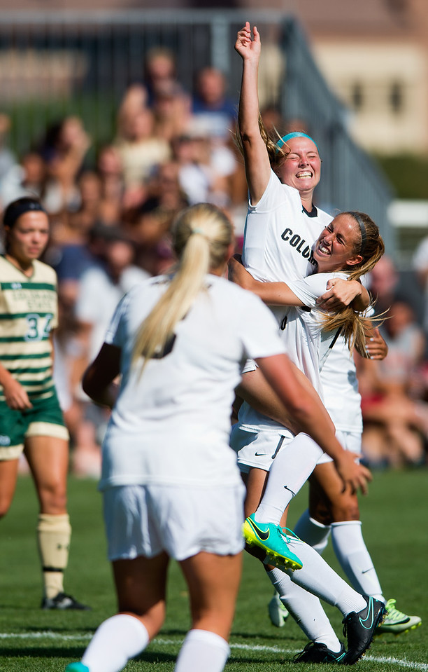 "CU's Danica Evans celebrates after scoring the winning goal for the Buffs during the soccer game at Prentup Field at CU Boulder on Sunday. CU Boulder defeated CSU 2-1.<br /> More photos:  <a href=""http://www.buffzone.com"">http://www.buffzone.com</a><br /> (Autumn Parry/Staff Photographer)<br /> August 21, 2016"