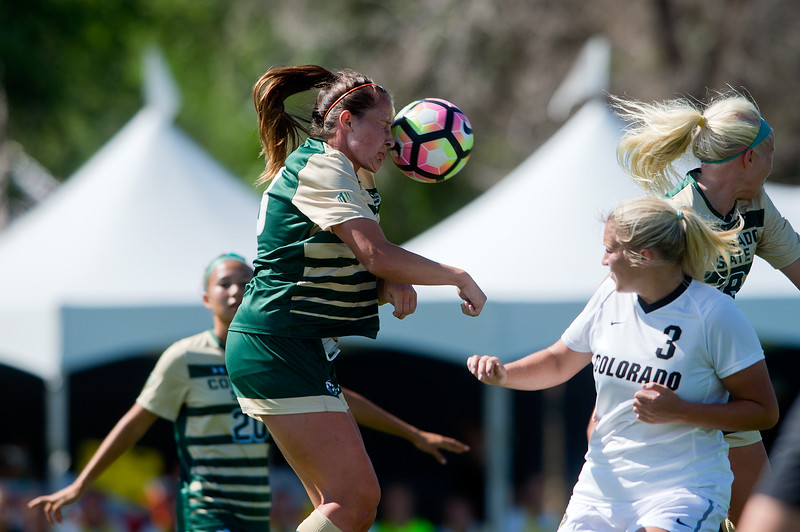 "CSU's Shelby Bowden head bumps the ball during the soccer game at Prentup Field at CU Boulder on Sunday. CU Boulder defeated CSU 2-1.<br /> More photos:  <a href=""http://www.buffzone.com"">http://www.buffzone.com</a><br /> (Autumn Parry/Staff Photographer)<br /> August 21, 2016"