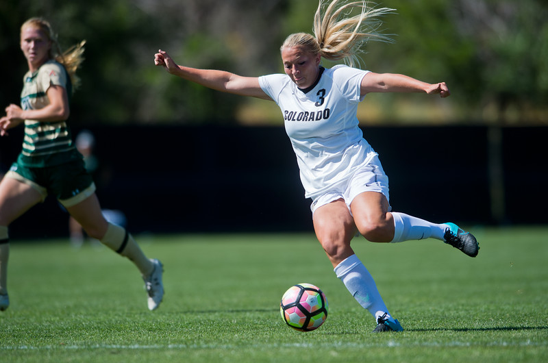 """CU's Emily Bruder attempts to score against CSU during the soccer game at Prentup Field at CU Boulder on Sunday. CU Boulder defeated CSU 2-1.<br /> More photos:  <a href=""""http://www.buffzone.com"""">http://www.buffzone.com</a><br /> (Autumn Parry/Staff Photographer)<br /> August 21, 2016"""