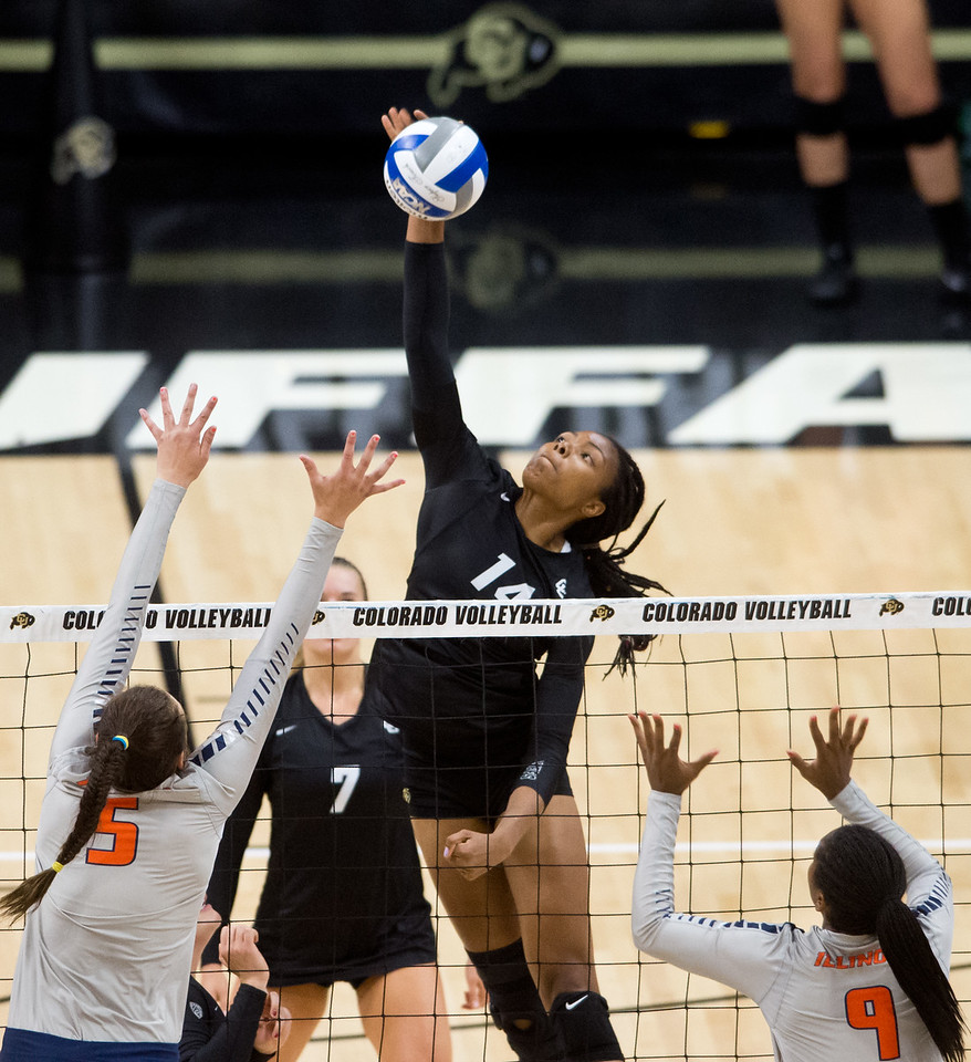 "CU's Naghede Abu hits one past Illinois during the game at the Coors Event Center at CU Boulder on Sunday. <br /> More photos:  <a href=""http://www.BuffZone.com"">http://www.BuffZone.com</a><br /> (Autumn Parry/Staff Photographer)<br /> September 4, 2016"