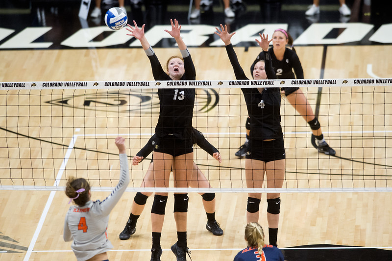 "CU's Gabby Simpson (left) and Anna Pfefferle block the ball during the game against Illinois at the Coors Event Center at CU Boulder on Sunday. <br /> More photos:  <a href=""http://www.BuffZone.com"">http://www.BuffZone.com</a><br /> (Autumn Parry/Staff Photographer)<br /> September 4, 2016"