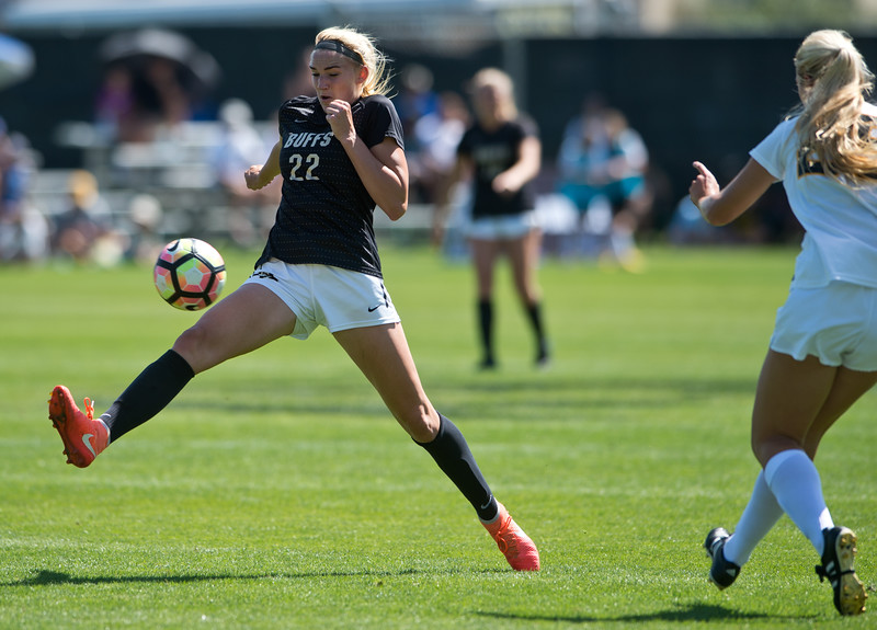 "CU's Taylor Kornieck kicks the ball during the game against Iowa at Prentup Field at CU Boulder on Sunday. CU defeated Iowa 4-1.<br /> More photos:  <a href=""http://www.buffzone.com"">http://www.buffzone.com</a><br /> (Autumn Parry/Staff Photographer)<br /> September 11, 2016"