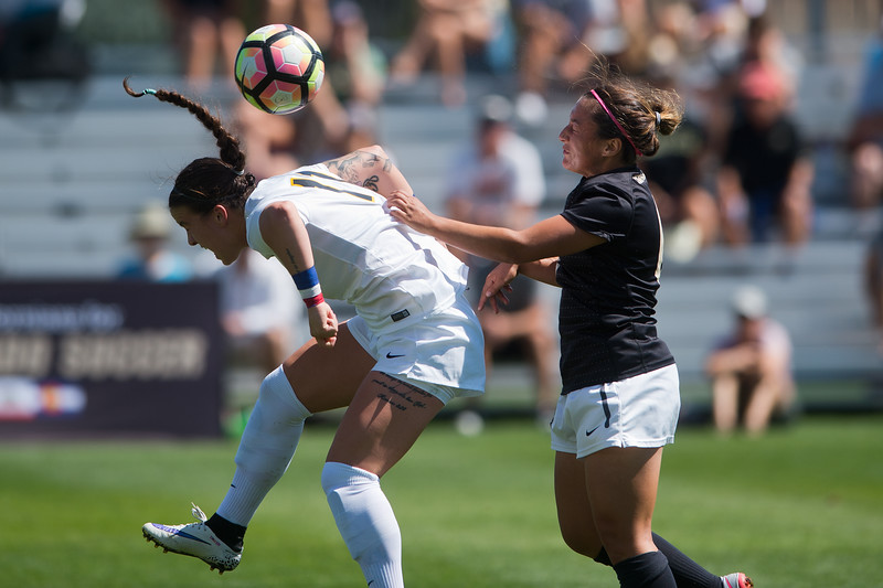 "Iowa's Olivia Fiegel and CU's Morgan Stanton head bump the ball during the game at Prentup Field at CU Boulder on Sunday. CU defeated Iowa 4-1.<br /> More photos:  <a href=""http://www.buffzone.com"">http://www.buffzone.com</a><br /> (Autumn Parry/Staff Photographer)<br /> September 11, 2016"