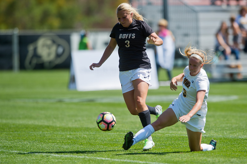 "CU's Emily Bruder shoots and scores against Iowa during the first half of the game at Prentup Field at CU Boulder on Sunday. CU defeated Iowa 4-1.<br /> More photos:  <a href=""http://www.buffzone.com"">http://www.buffzone.com</a><br /> (Autumn Parry/Staff Photographer)<br /> September 11, 2016"