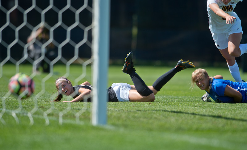"CU's Camilla Shymka (left) and Iowa's goalkeeper, Emma Rigby, watch as the ball rolls into the net during the second half of the game at Prentup Field at CU Boulder on Sunday. CU defeated Iowa 4-1.<br /> More photos:  <a href=""http://www.buffzone.com"">http://www.buffzone.com</a><br /> (Autumn Parry/Staff Photographer)<br /> September 11, 2016"