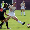 "CU's Sarah Kinzner kicks the ball past Oregon State's Annie Govig during the game in Prentup Field at CU Boulder on Sunday. CU defeated Oregon State 3-0. <br /> More photos:  <a href=""http://www.buffzone.com"">http://www.buffzone.com</a><br /> (Autumn Parry/Staff Photographer)<br /> October 9, 2016"