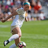 """CU's Danica Evans kicks the ball past Oregon State's defense during the game in Prentup Field at CU Boulder on Sunday. CU defeated Oregon State 3-0. <br /> More photos:  <a href=""""http://www.buffzone.com"""">http://www.buffzone.com</a><br /> (Autumn Parry/Staff Photographer)<br /> October 9, 2016"""