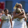 """CU's Emily Bruder hugs Taylor Kornieck after they scored against Oregon State during the game in Prentup Field at CU Boulder on Sunday. CU defeated Oregon State 3-0. <br /> More photos:  <a href=""""http://www.buffzone.com"""">http://www.buffzone.com</a><br /> (Autumn Parry/Staff Photographer)<br /> October 9, 2016"""