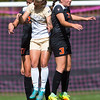 """Oregon State's Emma Bergstrom (right) head bumps the ball during the game in Prentup Field at CU Boulder on Sunday. CU defeated Oregon State 3-0. <br /> More photos:  <a href=""""http://www.buffzone.com"""">http://www.buffzone.com</a><br /> (Autumn Parry/Staff Photographer)<br /> October 9, 2016"""