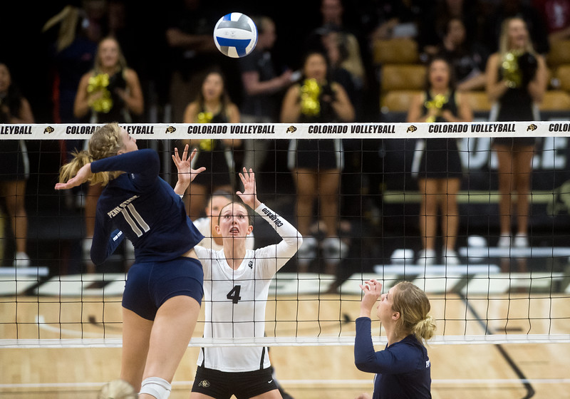 "CU's Anna Pfefferle makes a save during the game against Penn State at the Coors Event Center at CU Boulder on Saturday.<br /> For more photos go to  <a href=""http://www.BoCoPreps.com"">http://www.BoCoPreps.com</a><br /> (Autumn Parry/Staff Photographer)<br /> September 3, 2016"