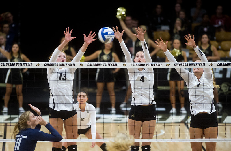 "Gabby Simpson (left) and Anna Pfefferle (center) make a save during the game against Penn State at the Coors Event Center at CU Boulder on Saturday.<br /> For more photos go to  <a href=""http://www.BoCoPreps.com"">http://www.BoCoPreps.com</a><br /> (Autumn Parry/Staff Photographer)<br /> September 3, 2016"