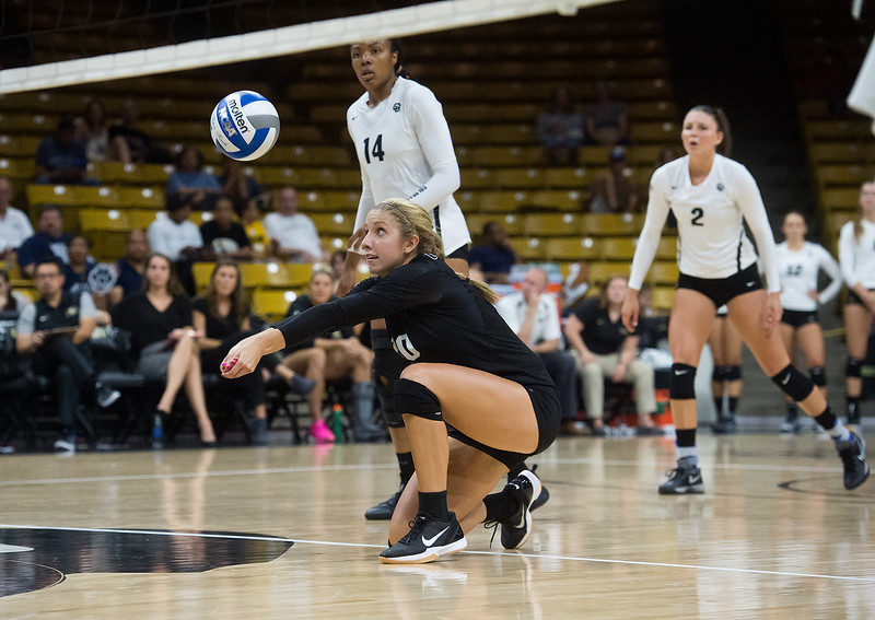 "CU's Cierra Simpson makes a save during the game against Penn State at the Coors Event Center at CU Boulder on Saturday.<br /> For more photos go to  <a href=""http://www.BoCoPreps.com"">http://www.BoCoPreps.com</a><br /> (Autumn Parry/Staff Photographer)<br /> September 3, 2016"