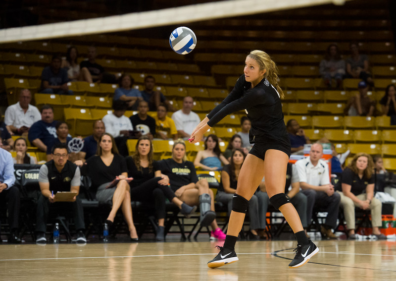 """CU's Cierra Simpson makes a save during the game against Penn State at the Coors Event Center at CU Boulder on Saturday.<br /> For more photos go to  <a href=""""http://www.BoCoPreps.com"""">http://www.BoCoPreps.com</a><br /> (Autumn Parry/Staff Photographer)<br /> September 3, 2016"""