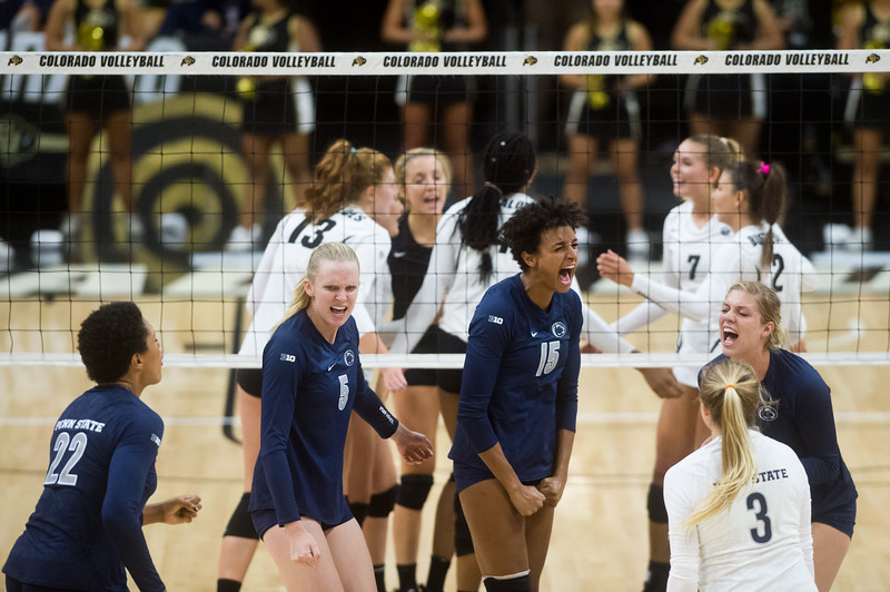 "Penn State's Haleigh Washington (center) celebrates after scoring against CU during the game at the Coors Event Center at CU Boulder on Saturday.<br /> For more photos go to  <a href=""http://www.BoCoPreps.com"">http://www.BoCoPreps.com</a><br /> (Autumn Parry/Staff Photographer)<br /> September 3, 2016"