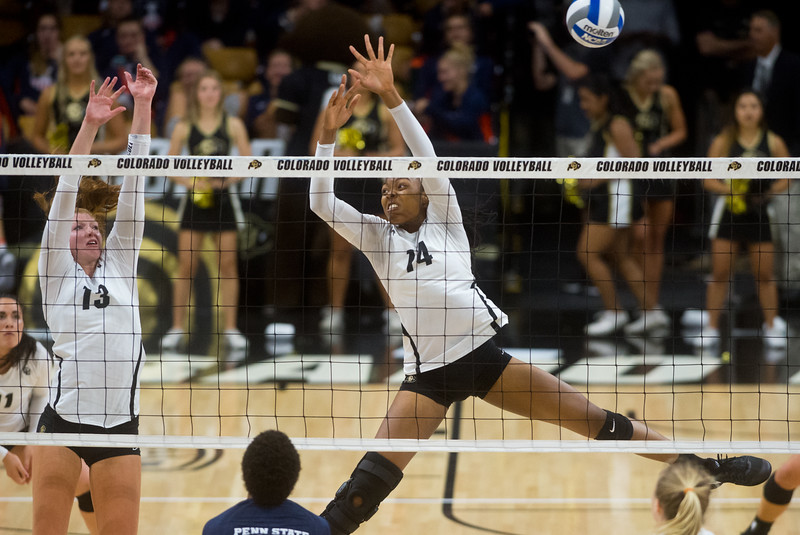 """CU's Naghede Abu attempts to make a save during the game against Penn State at the Coors Event Center at CU Boulder on Saturday.<br /> For more photos go to  <a href=""""http://www.BoCoPreps.com"""">http://www.BoCoPreps.com</a><br /> (Autumn Parry/Staff Photographer)<br /> September 3, 2016"""