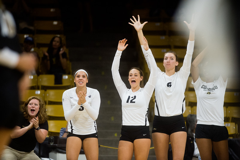 "From left to right, Justine Spann, Rachel Whipple and Taylor Joachim cheer their team on during the game against Penn State at the Coors Event Center at CU Boulder on Saturday.<br /> For more photos go to  <a href=""http://www.BoCoPreps.com"">http://www.BoCoPreps.com</a><br /> (Autumn Parry/Staff Photographer)<br /> September 3, 2016"
