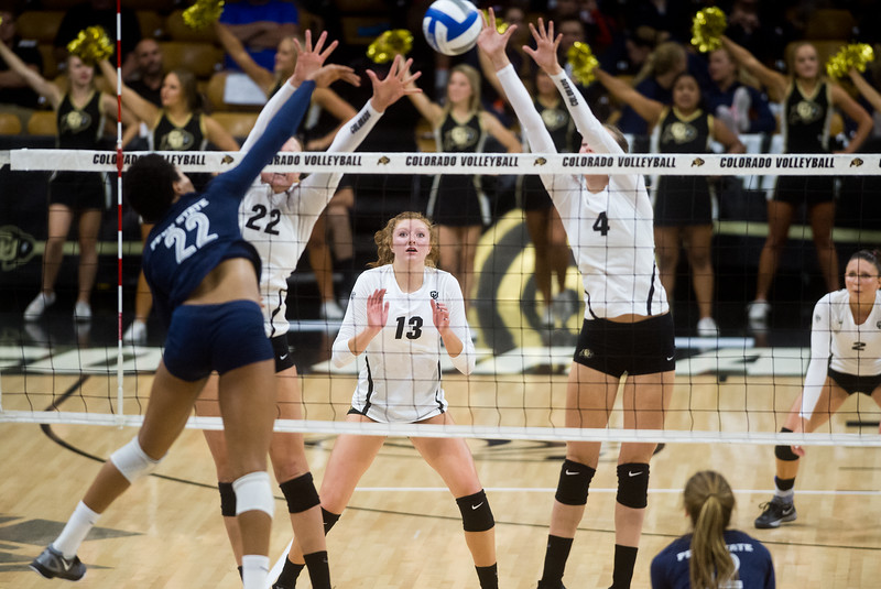"CU's Gabby Simpson (center) prepares to make a save during the game against Penn State at the Coors Event Center at CU Boulder on Saturday.<br /> For more photos go to  <a href=""http://www.BoCoPreps.com"">http://www.BoCoPreps.com</a><br /> (Autumn Parry/Staff Photographer)<br /> September 3, 2016"