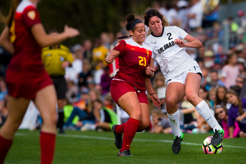 "CU'S Joss Orejel kicks the ball away from Southern California's Alex Anthony during the game in Prentup Field at CU Boulder on Sunday. <br /> More photos:  <a href=""http://www.buffzone.com"">http://www.buffzone.com</a><br /> (Autumn Parry/Staff Photographer)<br /> October 30, 2016"