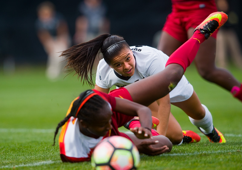 "CU's Stephanie Zuniga and Southern California's Moriah Earley fall over the ball during the game in Prentup Field at CU Boulder on Sunday. <br /> More photos:  <a href=""http://www.buffzone.com"">http://www.buffzone.com</a><br /> (Autumn Parry/Staff Photographer)<br /> October 30, 2016"