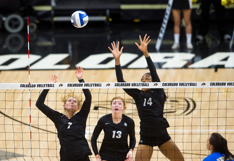 "From left to right, CU's Alexa Smith, Gabby Simpson and Naghede Abu block a hit by UCLA during the game in the Coors Event Center at CU Boulder on Sunday.<br /> More photos:  <a href=""http://www.buffzone.com"">http://www.buffzone.com</a><br /> (Autumn Parry/Staff Photographer)<br /> October 2, 2016"