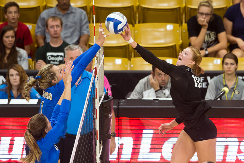 "CU's Gabby Simpson hits one over the net during the game against UCLA in the Coors Event Center at CU Boulder on Sunday.<br /> More photos:  <a href=""http://www.buffzone.com"">http://www.buffzone.com</a><br /> (Autumn Parry/Staff Photographer)<br /> October 2, 2016"