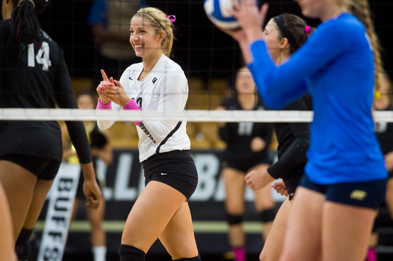 "CU's Cierra Simpson cheers for her team after they scored against UCLA during the game in the Coors Event Center at CU Boulder on Sunday.<br /> More photos:  <a href=""http://www.buffzone.com"">http://www.buffzone.com</a><br /> (Autumn Parry/Staff Photographer)<br /> October 2, 2016"