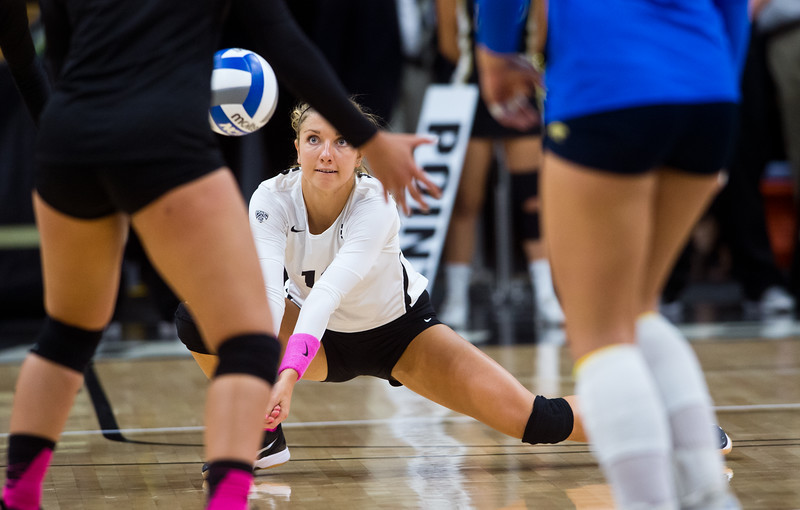 """CU's Cierra Simpson makes a save during the game against UCLA in the Coors Event Center at CU Boulder on Sunday.<br /> More photos:  <a href=""""http://www.buffzone.com"""">http://www.buffzone.com</a><br /> (Autumn Parry/Staff Photographer)<br /> October 2, 2016"""