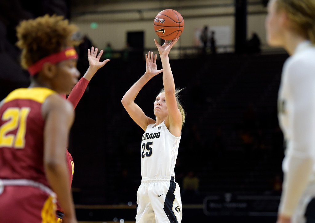 . BOULDER, CO - FEBRUARY 10: The University of Colorado\'s Annika Jank takes a shot against the University of Southern California in the first quarter February 10, 2019. To view more photos visit buffzone.com. (Photo by Lewis Geyer/Staff Photographer)