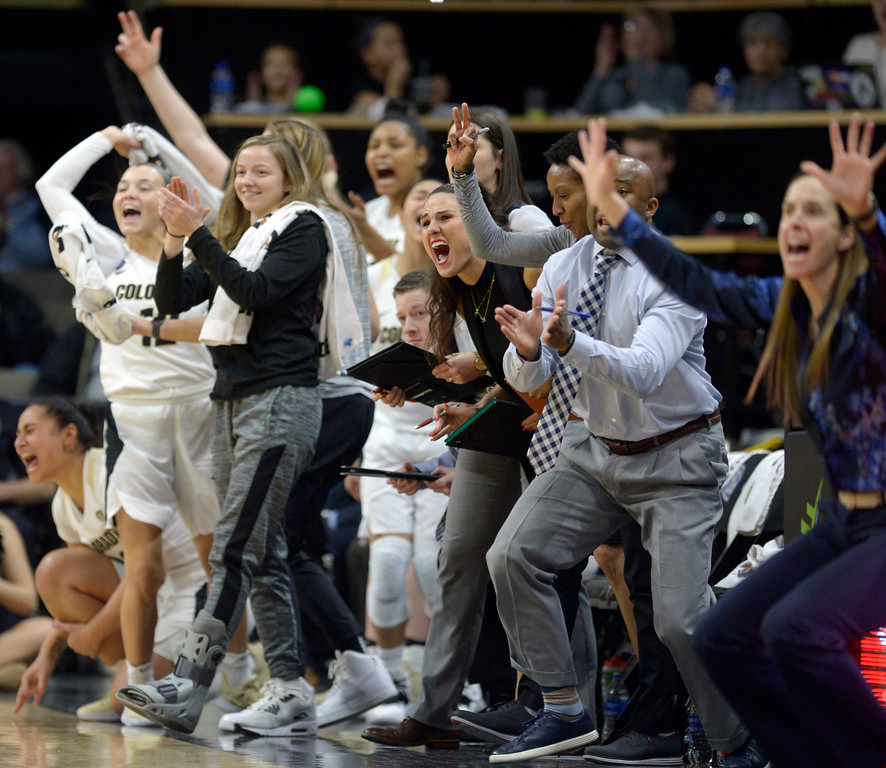 . BOULDER, CO - FEBRUARY 10: The University of Colorado bench erupts at the end of the second quarter against the University of Southern California February 10, 2019. To view more photos visit buffzone.com. (Photo by Lewis Geyer/Staff Photographer)