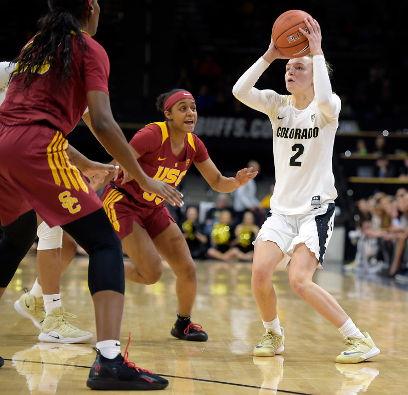 . BOULDER, CO - FEBRUARY 10: The University of Colorado\'s Alexis Robinson takes a shot outside the three point line against the University of Southern California in the first quarter February 10, 2019. To view more photos visit buffzone.com. (Photo by Lewis Geyer/Staff Photographer)