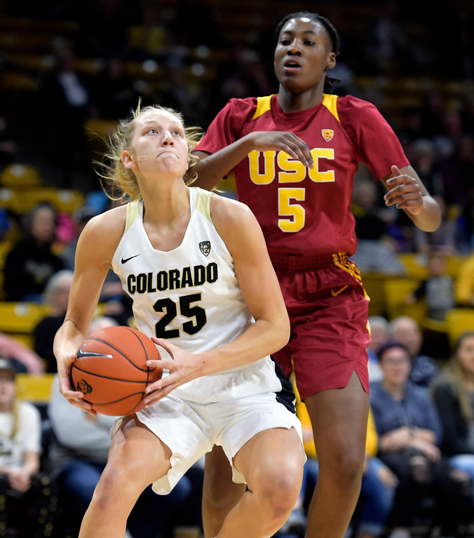 . BOULDER, CO - FEBRUARY 10: The University of Colorado\'s Annika Jank looks to the basket in front of the University of Southern California\'s Ja\'Tavia Tapley in the first quarter February 10, 2019. To view more photos visit buffzone.com. (Photo by Lewis Geyer/Staff Photographer)