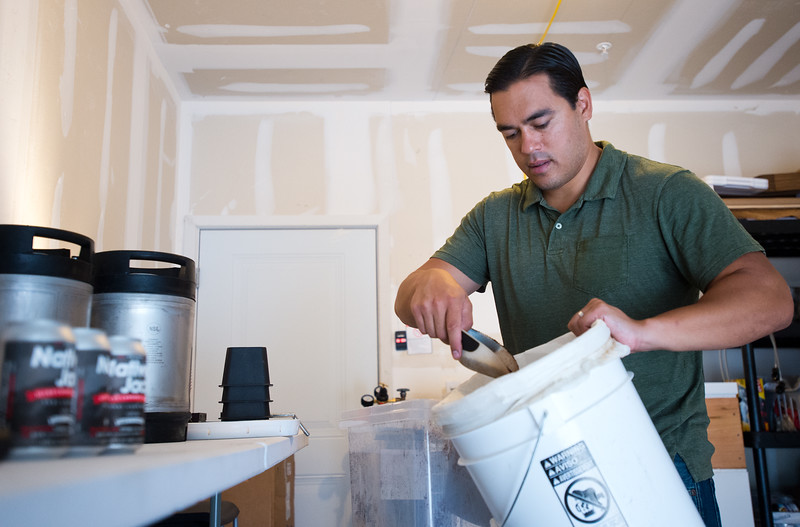 "Jason Walsh begins to cold brew coffee at his home in Louisville on Friday. Walsh infuses cannabis oil into his coffee product, Native Jack, which is currently being sold in local grocery stores like Alfalfa's Market. <br /> More photos:  <a href=""http://www.dailycamera.com"">http://www.dailycamera.com</a><br /> (Autumn Parry/Staff Photographer)<br /> September 2, 2016"