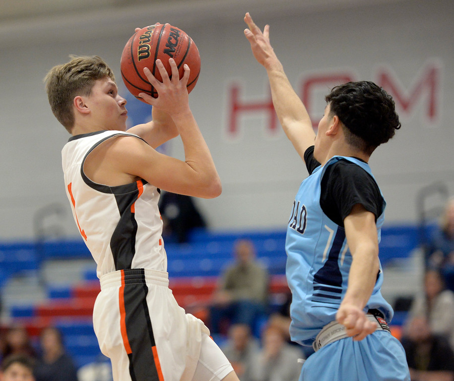. LAFAYETTE, CO - DECEMBER 5: Erie\'s Tristan Rademacher goes to the basket against Trinidad in the first quarter during the Centaurus Warrior Classic December 5, 2018 at Centaurus High School. To view more photos visit bocopreps.com. (Photo by Lewis Geyer/Staff Photographer)