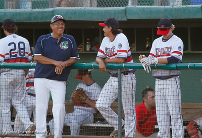 Bench coach Joe Garcia smiles during a baseball game against the Medford Rogues at Chico Heat July 6, 2016 at Nettleton Stadium in Chico, Calif. (Emily Bertolino -- Enterprise-Record)