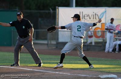 Medford Rogues's Johnny DeLaCruz at Chico Heat July 6, 2016 at Nettleton Stadium in Chico, Calif. (Emily Bertolino -- Enterprise-Record)