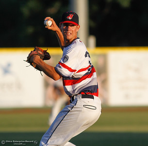 Chico Heat's pitcher Staurt Bradley looks to first during a baseball game against the Medford Rogues July 6, 2016 at Nettleton Stadium in Chico, Calif. (Emily Bertolino -- Enterprise-Record)