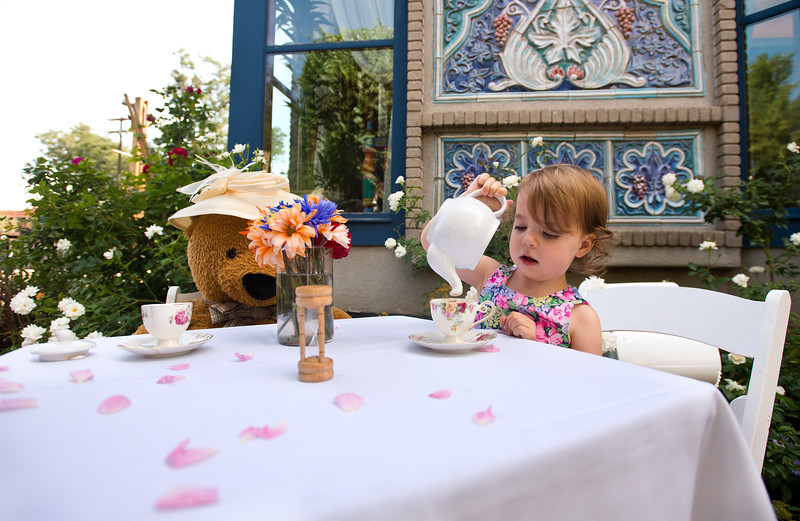 "Natalie Marth, 2, pretends to pour tea during the Children's Teddy Bear Tea Party, as part of the 16th annual Rocky Mountain Tea Festival at the Dushanbe Teahouse in Boulder on Sunday.<br /> More photos:  <a href=""http://www.dailycamera.com"">http://www.dailycamera.com</a><br /> (Autumn Parry/Staff Photographer)<br /> July 31, 2016"