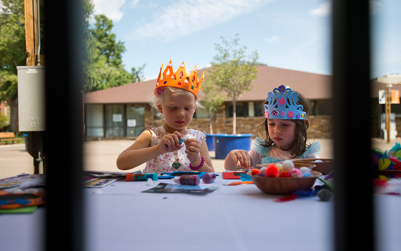 "Eileanor Baltrush, 4, (left) and Avitai Saccoman-Fire, 3, make picture frames during the Children's Teddy Bear Tea Party, as part of the 16th annual Rocky Mountain Tea Festival at the Dushanbe Teahouse in Boulder on Sunday.<br /> More photos:  <a href=""http://www.dailycamera.com"">http://www.dailycamera.com</a><br /> (Autumn Parry/Staff Photographer)<br /> July 31, 2016"