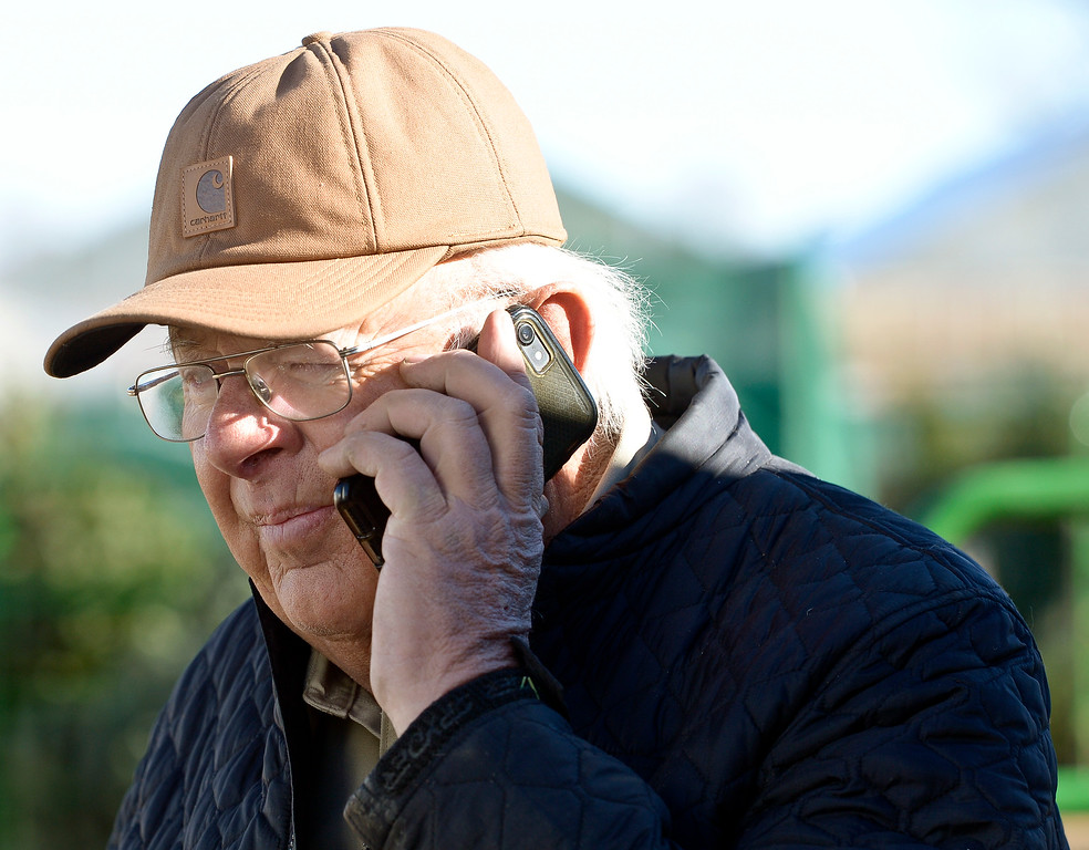. LAFAYETTE CO - DECEMBER 4: Owner Bob Condon talks on the phone at Cottonwood Farms along Isabelle Road, near U.S. 287, December 4, 2018. Cottonwood Farms sells many varieties including Noble, Nordman, Frasier and Douglas. (Photo by Lewis Geyer/Staff Photographer)