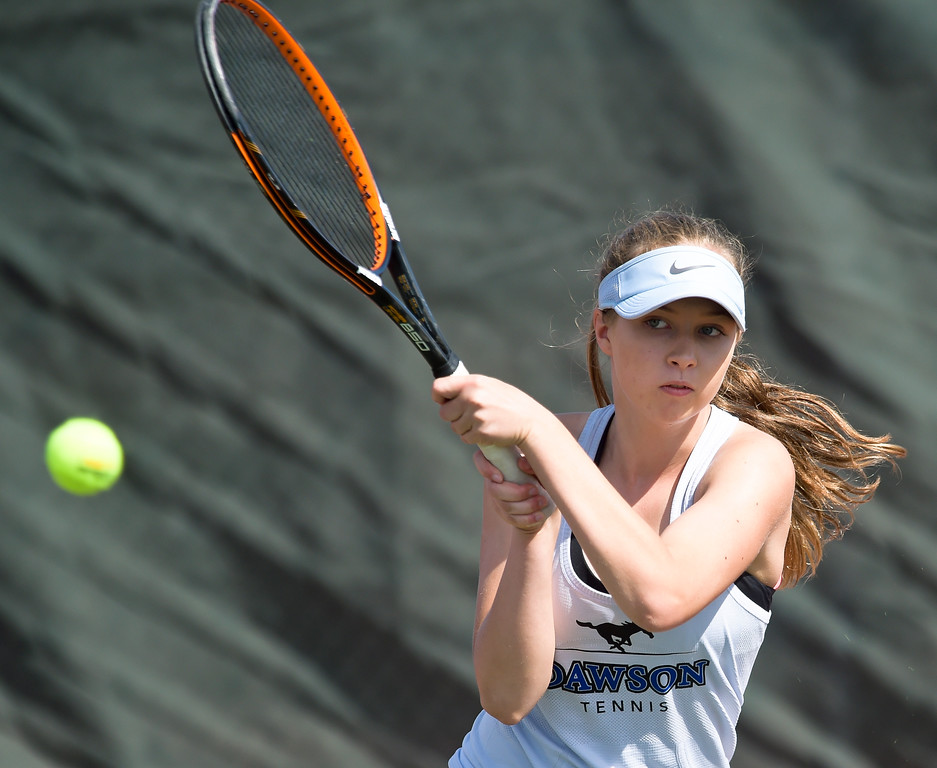 . Dawson\'s Aria Barbour competes in a #2 singles match during the 3A state tennis tournament in Greeley Thursday. To view more photos visit bocopreps.com. Lewis Geyer/Staff Photographer May 10, 2018