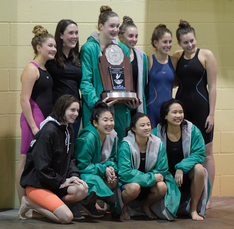 . THORNTON, CO - FEBRUARY 8: Niwot finished with the runner-up trophy at the girls 4A swimming and diving championships February 8, 2019 at the Veterans Memorial Aquatic Center in Thornton. To view more photos visit bocopreps.com. (Photo by Lewis Geyer/Staff Photographer)