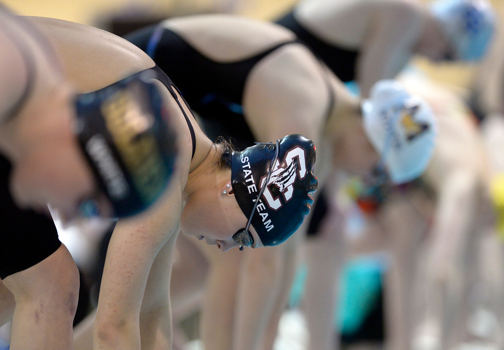 . THORNTON, CO - FEBRUARY 8: Silver Creek\'s Madison Black at the start of the 50 yard freestyle final during the girls 4A swimming and diving championships February 8, 2019 at the Veterans Memorial Aquatic Center in Thornton. Black finished in fourth place. To view more photos visit bocopreps.com. (Photo by Lewis Geyer/Staff Photographer)